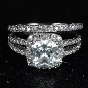 Princess Halo Bridal Set 925 Sterling Silver